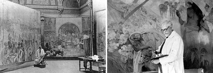 Mucha pintando A Epopeia Eslava, Praga