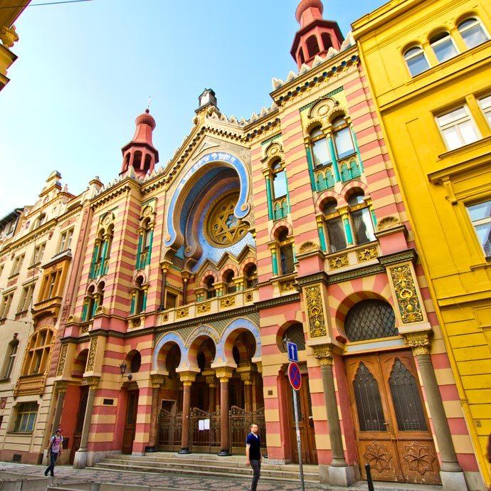Fachada da Sinagoga Jerusalém, em Praga