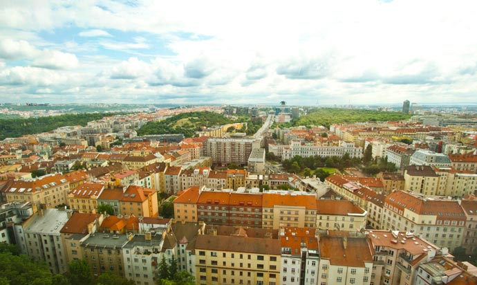 Vista do One Room Hotel, em Praga