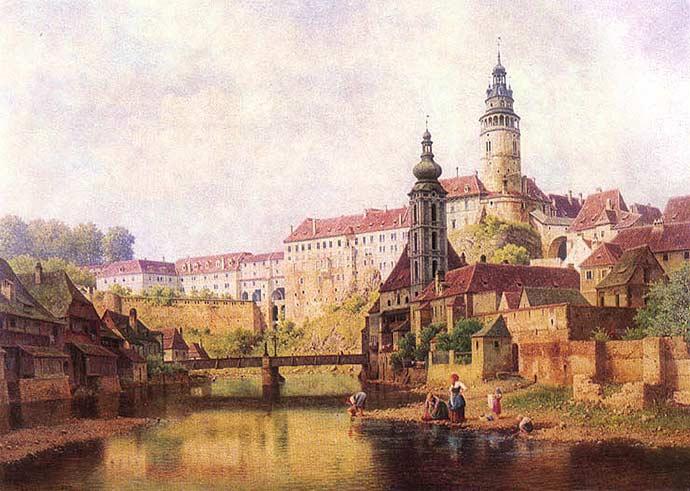 Český Krumlov, século 19, em pintura de Bedřich Havránek
