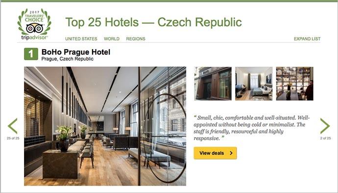 Hotel em Praga: página do Traveler's Choice, com o BoHo em 1º lugar na República Tcheca