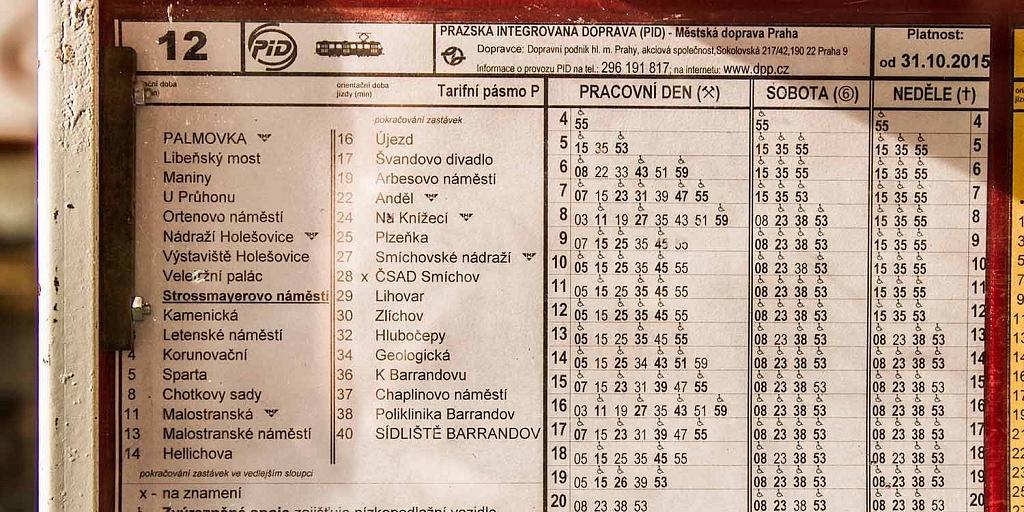 Transportes em Praga: tabela de horários de bonde